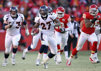 KANSAS CITY, MO - DECEMBER 05:  Knowshon Moreno #27 of the Denver Broncos carries the ball during the game against the Kansas City Chiefs on December 5, 2010 at Arrowhead Stadium in Kansas City, Missouri.  (Photo by Jamie Squire/Getty Images)