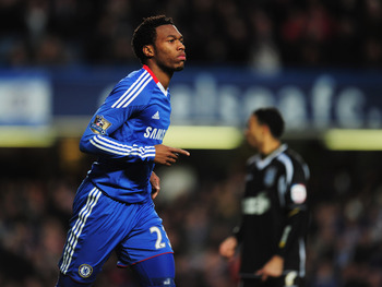 LONDON, ENGLAND - JANUARY 09:  Daniel Sturridge of Chelsea celebrates as he scores their fifth goal during the FA Cup sponsored by E.ON 3rd round match between Chelsea and Ipswich Town at Stamford Bridge on January 9, 2011 in London, England.  (Photo by S