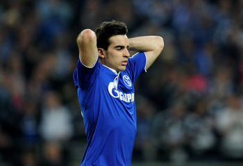 GELSENKIRCHEN, GERMANY - APRIL 26:   Jose Manuel Jurado of Schalke looks dejected during the UEFA Champions League Semi Final first leg match between FC Schalke 04 and Manchester United at Veltins Arena on April 26, 2011 in Gelsenkirchen, Germany. (Photo