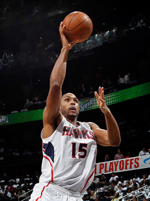ATLANTA, GA - APRIL 22:  Al Horford #15 of the Atlanta Hawks against the Orlando Magic during Game Three of the Eastern Conference Quarterfinals in the 2011 NBA Playoffs at Philips Arena on April 22, 2011 in Atlanta, Georgia.  NOTE TO USER: User expressly
