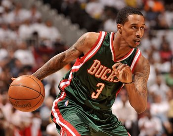ATLANTA - APRIL 17:  Brandon Jennings #3 of the Milwaukee Bucks dribbles against the Atlanta Hawks in Game One of the Eastern Conference Quarterfinals during the 2010 NBA Playoffs on April 17, 2010 at Philips Arena in Atlanta, Georgia. The Hawks won 102-9