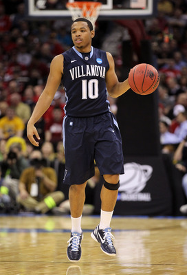 CLEVELAND, OH - MARCH 18:  Corey Fisher #10 of the Villanova Wildcats handles the ball against the George Mason Patriots during the second round of the 2011 NCAA men's basketball tournament at Quicken Loans Arena on March 18, 2011 in Cleveland, Ohio.  (Ph