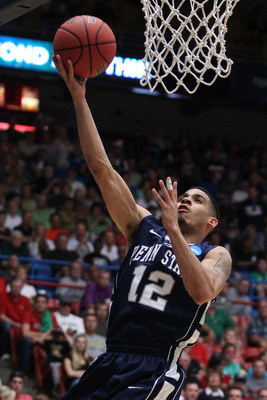 TUCSON, AZ - MARCH 17:  Talor Battle #12 of the Penn State Nittany Lions shoots against the Temple Owls during the second round of the 2011 NCAA men's basketball tournament at McKale Center on March 17, 2011 in Tucson, Arizona.  (Photo by Christian Peters