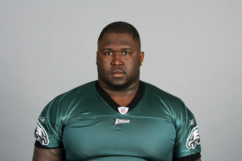 PHILADELPHIA, PA - JULY 6: In this 2010 photo provided by the NFL, Max Jean-Gilles of the Philadelphia Eagles poses for an NFL headshot on Tuesday, July 6, 2010 in Philadelphia, Pennsylvania. (Photo by NFL via Getty Images)