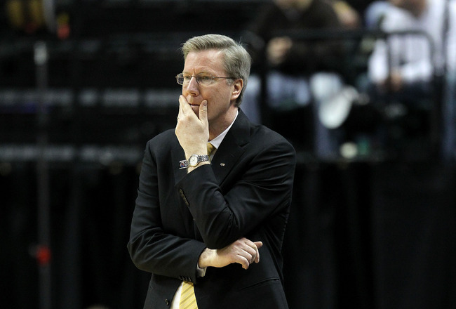 INDIANAPOLIS, IN - MARCH 10:  Head coach Fran McCaffery of the Iowa Hawkeyes looks on against the Michigan State Spartans during the first round of the 2011 Big Ten Men's Basketball Tournament at Conseco Fieldhouse on March 10, 2011 in Indianapolis, India