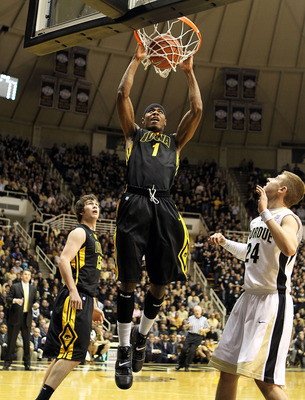WEST LAFAYETTE, IN - JANUARY 09:  Meisahn Basabe #1 of the Iowa Hawkeyes dunks during the Big Ten Conference game against the Purdue Boilermakers at Mackey Arena on January 9, 2011 in West Lafayette, Indiana.  (Photo by Andy Lyons/Getty Images)
