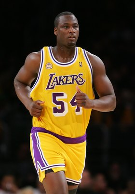 LOS ANGELES, CA - DECEMBER 30:   Kwame Brown #54 of the Los Angeles Lakers runs upcourt during the game against the Boston Celtics at Staples Center on December 30, 2007 in Los Angeles, California.  NOTE TO USER: User expressly acknowledges and agrees tha