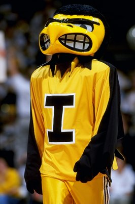 19 Dec 1998: The Mascot of the Iowa Hawkeyes in action during the game against the Missouri Tigers at the Carver Hawkeye Arena in Iowa City, Iowa. Iowa defeated Missouri 82-68. Mandatory Credit: Jonathan Daniel  /Allsport