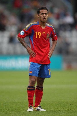 VIBORG, DENMARK - JUNE 22:  Thiago Alcantara of Spain during the UEFA European Under-21 Championship semi-final match between Belarus and Spain at the Viborg Stadium on June 22, 2011 in Viborg, Denmark.  (Photo by Michael Steele/Getty Images)