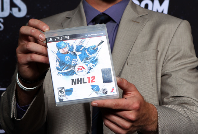 LAS VEGAS, NV - JUNE 22:  Steve Stamkos of the Tampa Bay Lightning poses with the cover of EA Sports' NHL 12 video game during the 2011 NHL Awards at The Pearl concert theater at the Palms Casino Resort June 22, 2011 in Las Vegas, Nevada.  (Photo by Bruce