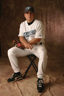 DUNEDIN, FL - FEBRUARY 28:  Mike Nannini of the Toronto Blue Jays poses for a portrait during photo day at the Bobby Mattick Training Center on February 28, 2005 in Dunedin, Florida.  (Photo by Andy Lyons/Getty Images)