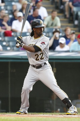 CLEVELAND, OH - JUNE 18:   Andrew McCutchen #22 of the Pittsburgh Pirates bats against the Cleveland Indians during the first inning of their game on June 18, 2011 at Progressive Field in Cleveland, Ohio.  The Indians defeated the Pirates 5-1.  (Photo by