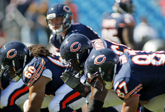 CHARLOTTE, NC - OCTOBER 10: The offensive line of the Chicago Bears warms up prior to the Bears game against the Carolina Panthers at Bank of America Stadium on October 10, 2010 in Charlotte, North Carolina. (Photo by Geoff Burke/Getty Images)