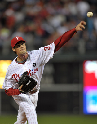 PHILADELPHIA, PA - JUNE 14: Starting pitcher Cole Hamels #35 of the Philadelphia Phillies delivers a pitch during the game against the Florida Marlins at Citizens Bank Park on June 14, 2011 in Philadelphia, Pennsylvania. (Photo by Drew Hallowell/Getty Ima