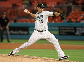 MIAMI GARDENS, FL - JUNE 20:  Anibal Sanchez #19 of the Florida Marlins pitches during a game against the Los Angeles Angels of Anaheim at Sun Life Stadium on June 20, 2011 in Miami Gardens, Florida.  (Photo by Mike Ehrmann/Getty Images)