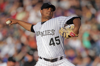 DENVER, CO - JUNE 10:  Starting pitcher Jhoulys Chacin #45 of the Colorado Rockies delivers against the Los Angeles Dodgers at Coors Field on June 10, 2011 in Denver, Colorado.  (Photo by Doug Pensinger/Getty Images)