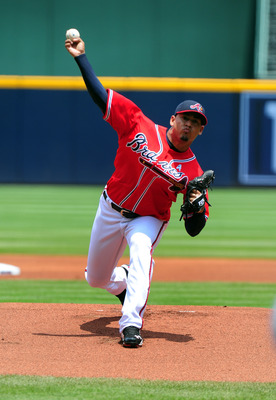 ATLANTA - JUNE 19: Jair Jurrjens #49 of the Atlanta Braves pitches against the Texas Rangers at Turner Field on June 19, 2011 in Atlanta, Georgia. (Photo by Scott Cunningham/Getty Images)