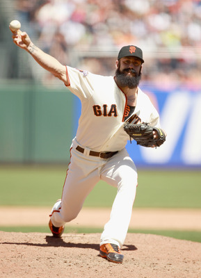 SAN FRANCISCO, CA - JUNE 23:  Brian Wilson #38 of the San Francisco Giants pitches against the Minnesota Twins at AT&amp;T Park on June 23, 2011 in San Francisco, California.  (Photo by Ezra Shaw/Getty Images)