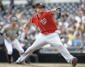 SAN DIEGO, CA - JUNE 12: Drew Storen #22 of the Washington Nationals pitches during the ninth inning of a baseball game against San Diego Padres at Petco Park on June 12, 2011 in San Diego, California.  The Nationals won 2-0.  (Photo by Denis Poroy/Getty