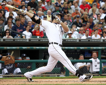 DETROIT, MI - JUNE 15:  Brennan Boesch #26 of the Detroit Tigers hits a solo home run in the first inning during a MLB game against the Cleveland Indians at Comerica Park on June 15, 2011 in Detroit, Michigan. Cleveland won 6-4  (Photo by Dave Reginek/Get