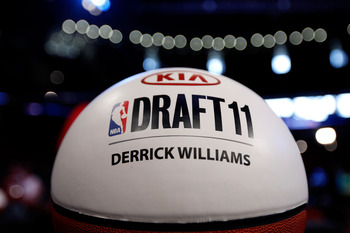 NEWARK, NJ - JUNE 23:  A detail of a basketball marking the table where Derrick Williams will sit in the green room during the 2011 NBA Draft at the Prudential Center on June 23, 2011 in Newark, New Jersey.  NOTE TO USER: User expressly acknowledges and a