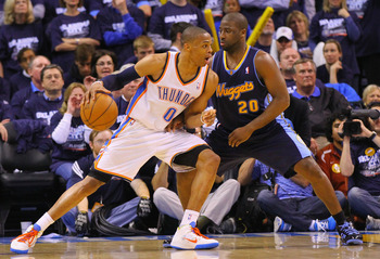 OKLAHOMA CITY, OK - APRIL 27: Russell Westbrook #0 of the Oklahoma City Thunder drives to the basket against Raymond Felton #20 of the Denver Nuggets in Game Five of the Western Conference Quarterfinals in the 2011 NBA Playoffs on April 27, 2011 at the Fo