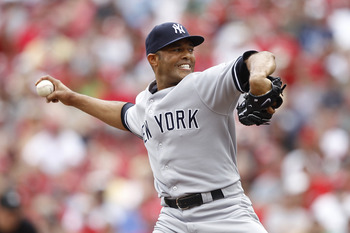 CINCINNATI, OH - JUNE 22: Mariano Rivera #42 of the New York Yankees pitches the ninth inning against the Cincinnati Reds at Great American Ball Park on June 22, 2011 in Cincinnati, Ohio. The Yankees defeated the Reds 4-2. (Photo by Joe Robbins/Getty Imag