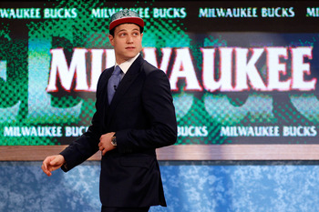 NEWARK, NJ - JUNE 23:  Jimmer Fredette from BYU walks off stage after he was selected #10 overall by the Milwaukee Bucks in the first round during the 2011 NBA Draft at the Prudential Center on June 23, 2011 in Newark, New Jersey.  NOTE TO USER: User expr
