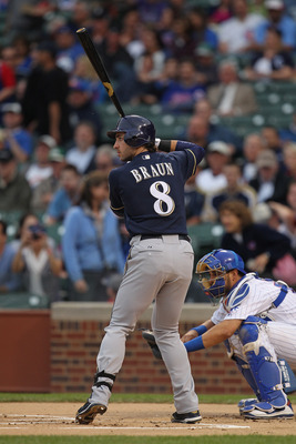 CHICAGO, IL - JUNE 14:  Ryan Braun #8 of the Milwaukee Brewers prepares to bat against the Chicago Cubs at Wrigley Field on June 14, 2011 in Chicago, Illinois. The Cubs defeated the Brewers 5-4 in 10 innings.  (Photo by Jonathan Daniel/Getty Images)