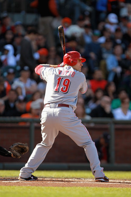 SAN FRANCISCO, CA - JUNE 12:  Joey Votto #19 of the Cincinnati Reds bats against the San Francisco Giants at AT&amp;T Park on June 12, 2011 in San Francisco, California.  (Photo by Ezra Shaw/Getty Images)