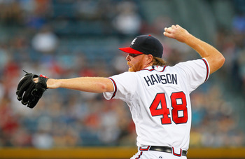 ATLANTA, GA - JUNE 01:  Tommy Hanson #48 of the Atlanta Braves pitches to the San Diego Padres at Turner Field on June 1, 2011 in Atlanta, Georgia.  (Photo by Kevin C. Cox/Getty Images)