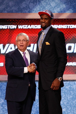 NEWARK, NJ - JUNE 23:  Chris Singleton from Florida State greets NBA Commissioner David Stern  after he was selected #18 overall by the Washington Wizards in the fduring the 2011 NBA Draft at the Prudential Center on June 23, 2011 in Newark, New Jersey.
