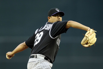 PHOENIX, AZ - MAY 03:  Starting pitcher Jorge De La Rosa #29 of the Colorado Rockies pitches against the Arizona Diamondbacks during the Major League Baseball game at Chase Field on May 3, 2011 in Phoenix, Arizona.  (Photo by Christian Petersen/Getty Imag
