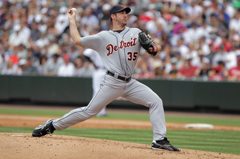 DENVER, CO - JUNE 19:  Starting pitcher Justin Verlander #35 of the Detroit Tigers works against the Colorado Rockies at Coors Field on June 19, 2011 in Denver, Colorado. Verlander pitched a complete game and earned the win as the Tigers defeated the Rock