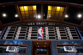 NEWARK, NJ - JUNE 23:  A general view of the draft board above the stage during the 2011 NBA Draft at the Prudential Center on June 23, 2011 in Newark, New Jersey.  NOTE TO USER: User expressly acknowledges and agrees that, by downloading and/or using thi