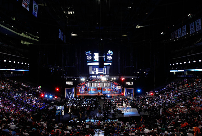 NEWARK, NJ - JUNE 23:  A general view of the draft stage during the 2011 NBA Draft at the Prudential Center on June 23, 2011 in Newark, New Jersey.  NOTE TO USER: User expressly acknowledges and agrees that, by downloading and/or using this Photograph, us