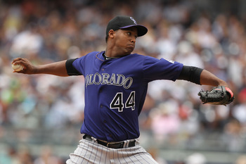 NEW YORK, NY - JUNE 26:  Juan Nicasio #44 of the Colorado Rockies pitches against the New York Yankees during their game on June 26, 2011 at Yankee Stadium in the Bronx borough of New York City.  (Photo by Al Bello/Getty Images)