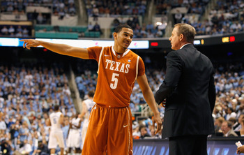 GREENSBORO, NC - DECEMBER 18:  Cory Joseph #5 and head coach Rick Barnes of the Texas Longhorns against the North Carolina Tar Heels at Greensboro Coliseum on December 18, 2010 in Greensboro, North Carolina.  (Photo by Kevin C. Cox/Getty Images)