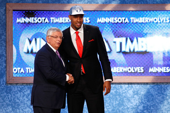 NEWARK, NJ - JUNE 23:  Derrick Williams (R) from Arizona greets NBA Commissioner David Stern after he was selected #2 overall by the Minnesota Timberwolves in the first round during the 2011 NBA Draft at the Prudential Center on June 23, 2011 in Newark, N