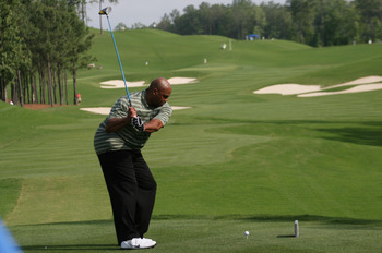 BIRMINGHAM, AL - MAY 14: Former NBA basketball player Charles Barkley tees off on the first hole during the Thursday Pro-AM of the Regions Charity Classic at the Robert Trent Jones Golf Trail at Ross Bridge on May 14, 2009  in Birmingham, Alabama. (Photo