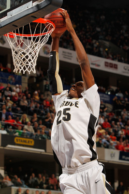 INDIANAPOLIS - MARCH 12:  Center JuJuan Johnson #25 of the Purdue Boilermakers goes up for a dunk against the Northwestern Wildcats during the quarterfinals of the Big Ten Men's Basketball Tournament at Conseco Fieldhouse on March 12, 2010 in Indianapolis