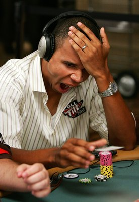 LAS VEGAS - JULY 29:  Poker player Phil Ivey yawns as he folds on the second day of the first round of the World Series of Poker no-limit Texas Hold 'em main event at the Rio Hotel & Casino July 29, 2006 in Las Vegas, Nevada. More than 8,600 players have