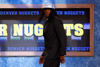 NEWARK, NJ - JUNE 23:  Kenneth Faried from Morehead State walks on stage after he was drafted #22 overall by the Denver Nuggets in the first round during the 2011 NBA Draft at the Prudential Center on June 23, 2011 in Newark, New Jersey.  NOTE TO USER: Us