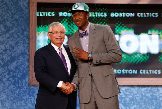 NEWARK, NJ - JUNE 23:  Marshon Brooks (R) from Providence greets NBA Commissioner David Stern after Brooks was drafted #25 overall by the Boston Celtics in the first round during the 2011 NBA Draft at the Prudential Center on June 23, 2011 in Newark, New