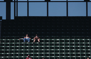 07  Apr 2002 :  Empty seats in the stands during the game between the Boston Red Sox and the Baltimore Orioles at the Oriole Park at Camden Yards in Baltimore, Maryland. DIGITAL IMAGE. Mandatory Credit: Doug Pensinger /Getty Images