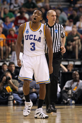 TAMPA, FL - MARCH 17:  Malcolm Lee #3 of the UCLA Bruins reacts against the UCLA Bruins in the second half during the second round of the 2011 NCAA men's basketball tournament at St. Pete Times Forum on March 17, 2011 in Tampa, Florida.  (Photo by Mike Eh