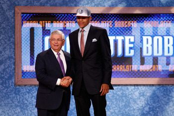 NEWARK, NJ - JUNE 23:  Tobias Harris of the Tennessee Volunteers greets NBA Commissioner David Stern after he was selected #19 overall by the Charlotte Bobcats in the first round during the 2011 NBA Draft at the Prudential Center on June 23, 2011 in Newar