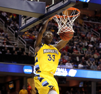 CLEVELAND, OH - MARCH 18: Jimmy Butler #33 of the Marquette Golden Eagles dunks the ball against the Xavier Musketeers during the second round of the 2011 NCAA men's basketball tournament at Quicken Loans Arena on March 18, 2011 in Cleveland, Ohio.  (Phot