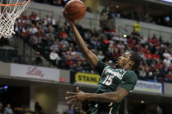 INDIANAPOLIS, IN - MARCH 12:  Durrell Summers #15 of the Michigan State Spartans drives for a shot attempt against the Penn State Nittany Lions during the semifinals of the 2011 Big Ten Men's Basketball Tournament at Conseco Fieldhouse on March 12, 2011 i