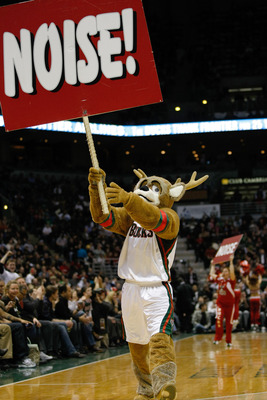 MILWAUKEE, WI - JANUARY 07: The Bucks mascot entertains fans during a time out during the game between the Milwaukee Bucks against the Miami Heat at the Bradley Center on January 7, 2011 in Milwaukee, Wisconsin. NOTE TO USER: User expressly acknowledges a